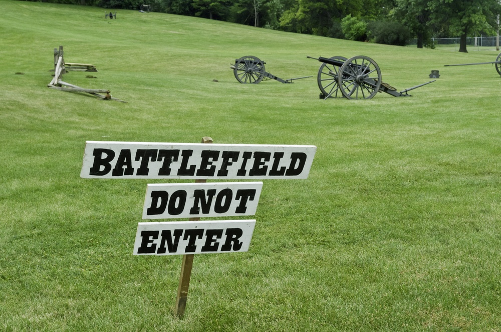 Battlefield sign at reenactment of American Civil War (1861-1865), Lombard, Illinois.jpeg