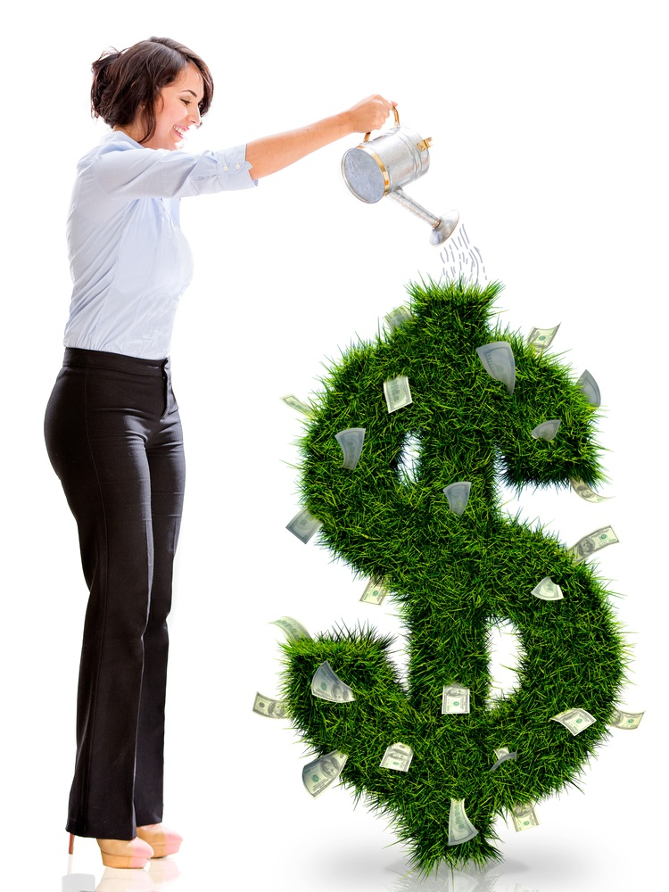 Business woman watering money plant - isolated over a white background.jpeg