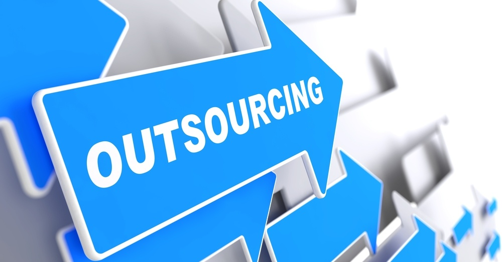 "Outsourcing - Business Background. Blue Arrow with ""Outsourcing"" Slogan on a Grey Background. 3D Render..jpeg"